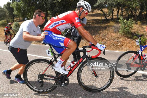 Rudy Molard of France and Team Groupama FDJ Red Leader Jersey / Shoe Problem / Mechanic / during the 73rd Tour of Spain 2018, Stage 9 a 200,8km stage...