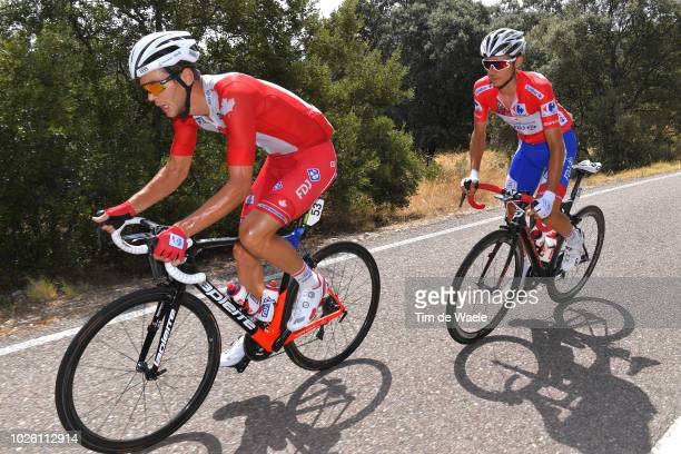 Rudy Molard of France and Team Groupama FDJ Red Leader Jersey / Shoe Problem / Antoine Duchesne of Canada and Team Groupama FDJ / during the 73rd...