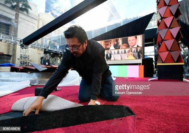 Rudy Morales instals the red carpet in preparation for the 90th Academy Awards on March 1 2018 in Hollywood California