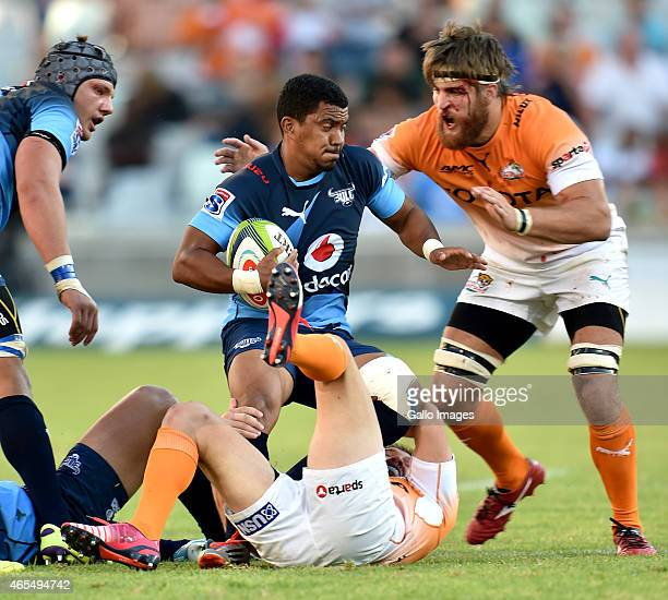 Rudy Paige of the Bulls and Boom Prinsloo of the Cheetahs during the Super Rugby match between Toyota Cheetahs and Vodacom Bulls at Free State...