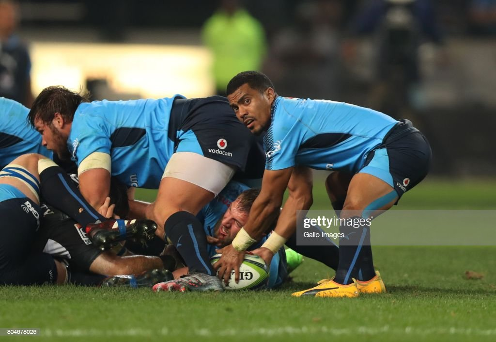 Rudy Paige of the Vodacom Bulls during the Super Rugby match between Cell C Sharks and Vodacom Bulls at Growthpoint Kings Park on June 30, 2017 in Durban, South Africa.
