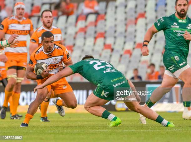 Rudy Paige of Toyota Cheetahs tackled by Cian Kelleher of Connacht during the Guinness Pro14 match between Toyota Cheetahs and Connacht at Toyota...