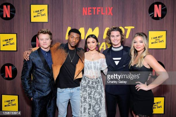 "Rudy Pankow, Jonathan Davis, Madison Bailey, Chase Stokes, and Madelyn Cline attend the premiere of Netflix's ""I Am Not Okay With This"" at The London..."