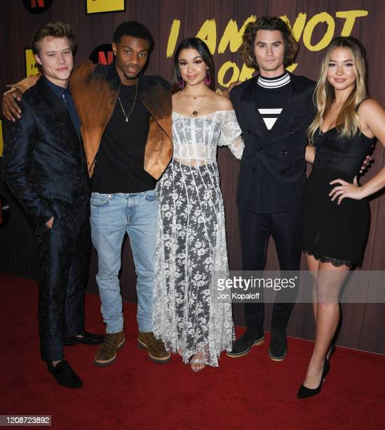 "Rudy Pankow, Jonathan Daviss, Madison Bailey, Chase Stokes and Madelyn Cline attend Netflix's ""I Am Not Okay With This"" Photocall at The London West..."