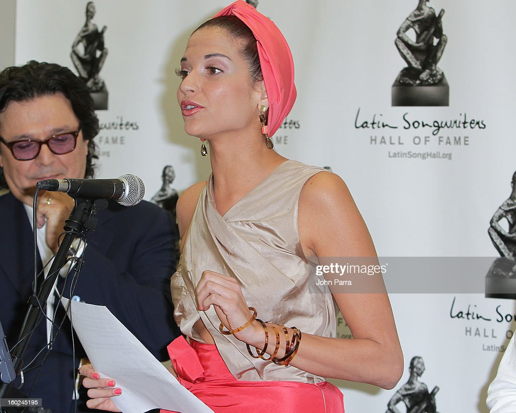 Rudy Perez and Natalia Jimenez attend Latin Songwriters Hall Of Fame announcement on January 28, 2013 in Miami, Florida.