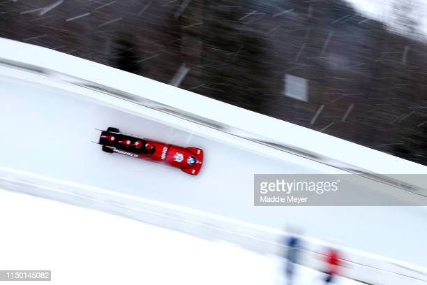 Rudy Rinaldi, Boris Vain, Thibault Demarhon, Steven Borges Mendonaca of Monaco compete in the first run of the 4-man bobsleigh competition on day 2...