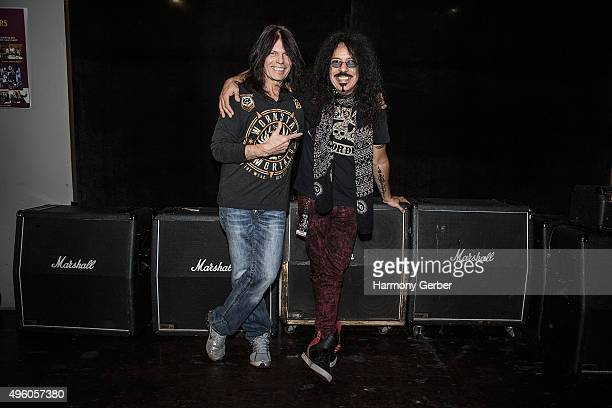 Rudy Sarzo and Frankie Banali attend the Rock 'N' Roll Fantasy Camp at Amp Rehearsal on November 6 2015 in North Hollywood California