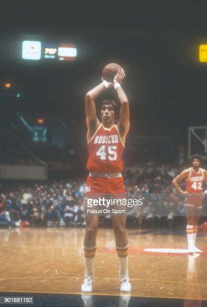 Rudy Tomjanovich of the Houston Rockets shoots a free throw against the New York Knicks during an NBA basketball game circa 1977 at Madison Square...