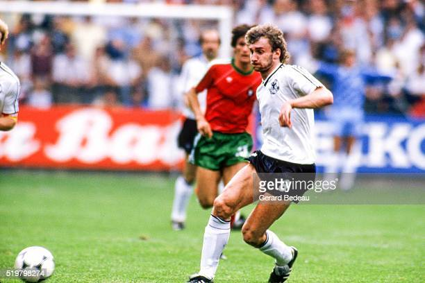 Rudy Voller of West Germany during the Football European Championship between West Germany and Portugal Strasbourg France on 14 June 1984