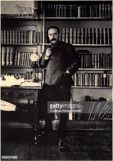 Rudyard Kipling , English Poet and Novelist, Portrait at Home, circa 1895.