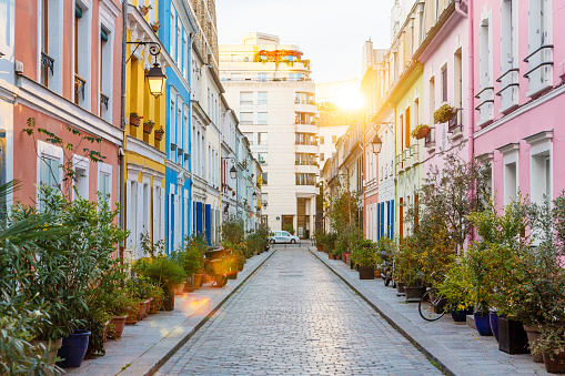 Rue Cremieux multicolored street during sunrise without people in Paris, France - gettyimageskorea