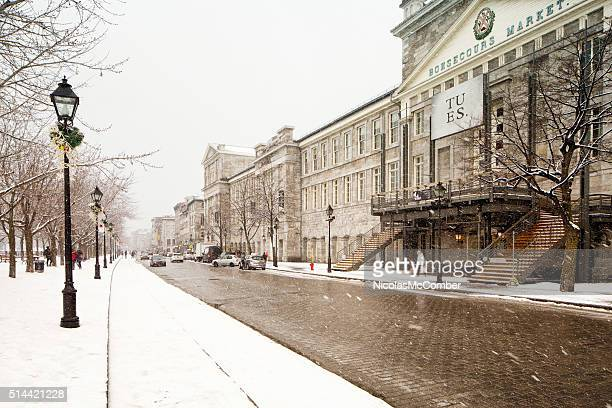 Rue de la commune and Marche Bonsecours on snowy day