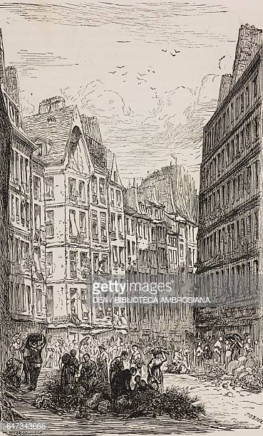 Rue de la Ferronnerie engraving by Sotain based on a drawing by Delauney from ParisGuide by leading writers and artists of France Volume 2 Life 1867