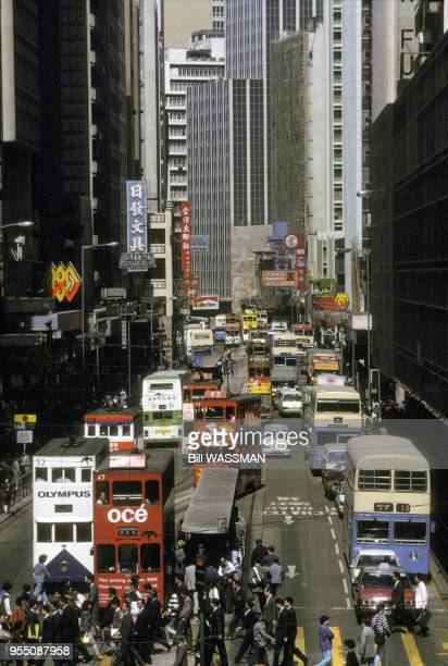 Rue du Central District de Hong Kong en mai 1989