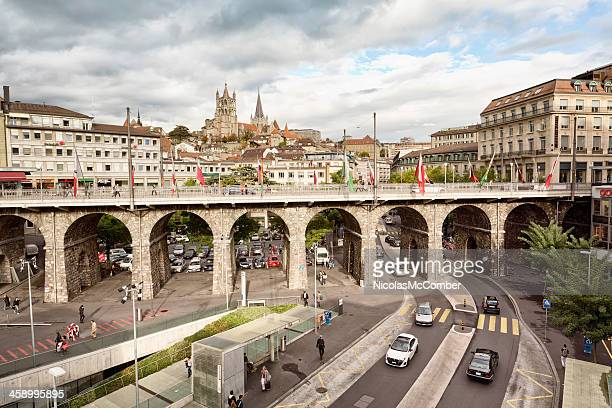 rue du grand pont lausanne switzerland - vaud canton stock photos and pictures
