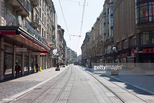 rue du marche, geneva downtown - empty streets stock pictures, royalty-free photos & images