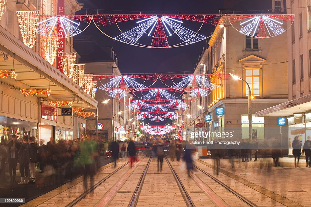 Rue Nationale alive with Christmas shoppers. : Stock Photo