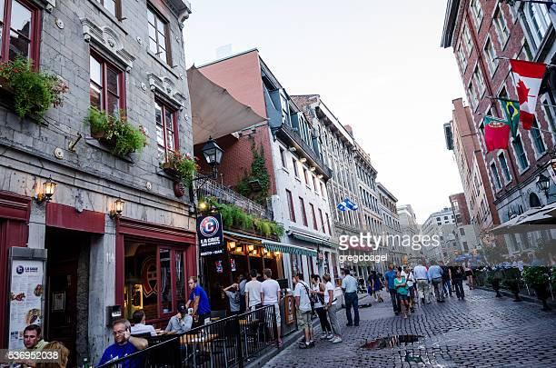 rue saint-paul in montreal, quebec - vieux montréal stock pictures, royalty-free photos & images