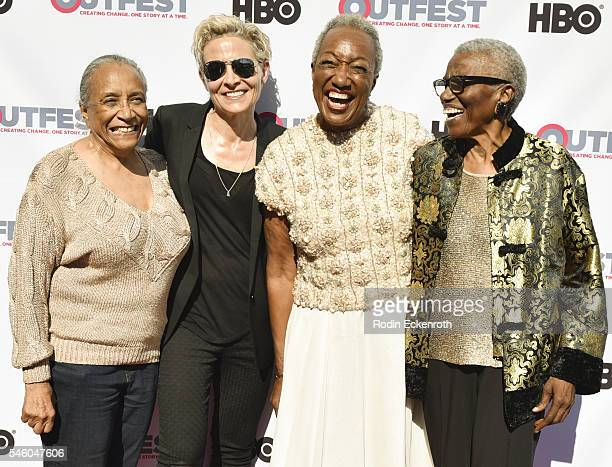 Rue ThasWilliams Director C Fitz and VHF founder/CEO Jewel ThaisWilliams and guest attend 2016 Outfest Los Angeles LGBT Film Festival screening of...