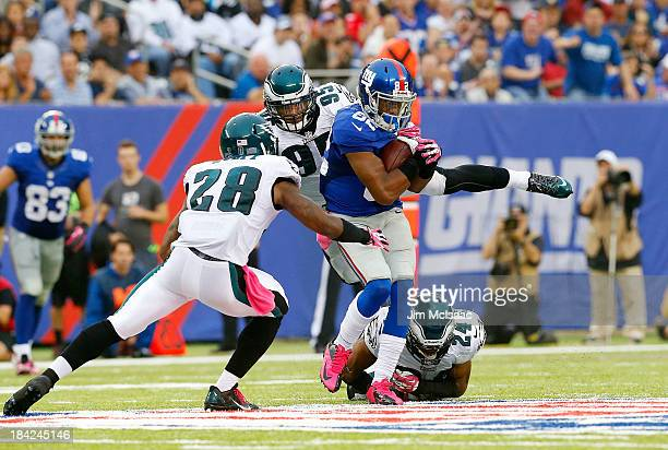 Rueben Randle of the New York Giants in action against the Philadelphia Eagles on October 6 2013 at MetLife Stadium in East Rutherford New Jersey The...