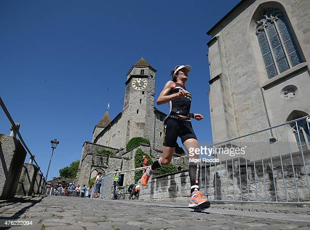 Ruedi Wild of Switzerland competes during the run section of Ironman 703 RapperswilJona on June 7 2015 in Rapperswil Switzerland