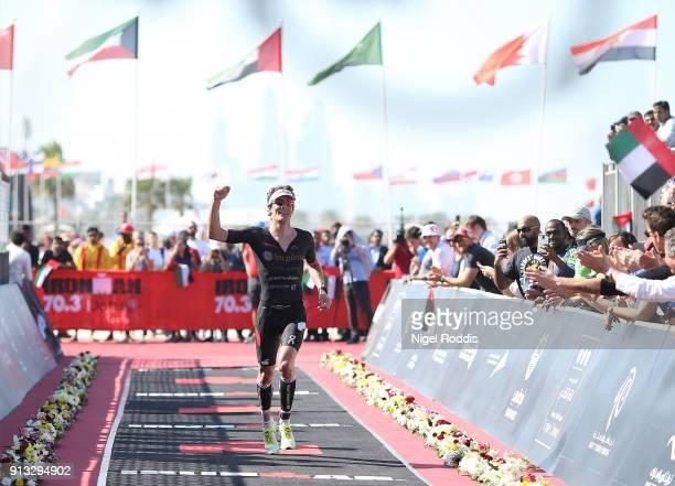 Ruedi Wild of Switzerland finishes third in Ironman 703 Dubai on February 2 2018 in Dubai United Arab Emirates