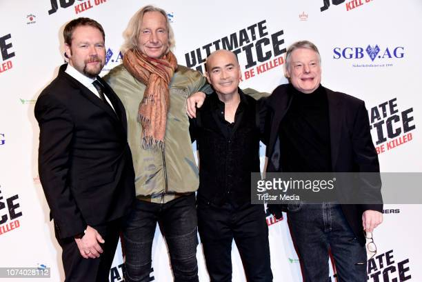 Ruediger W Kuemmerle alias Brandon Rhea Matthias Hues Marc Dacascos and Wolfgang Riehm during the 'Ultimate Justice' premiere at Kino Alexa on...