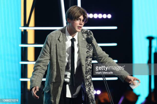 Ruel accepts the ARIA Award for Breakthrough Artist during the 32nd Annual ARIA Awards 2018 at The Star on November 28 2018 in Sydney Australia