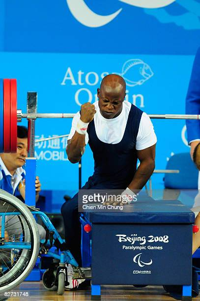 Ruel Ishaku of Nigeria screams in celebration after breaking a Paralympic record and World record by lifting 169kg in the men's 48kg Powerlifting at...
