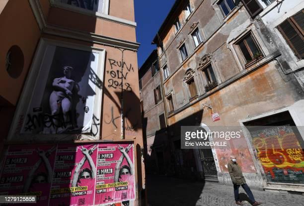Ruelle du quartier Trastevere suite aux mesures de confinement mises en place par le gouvernement italien pour lutter contre le coronavirus , 16 mars...