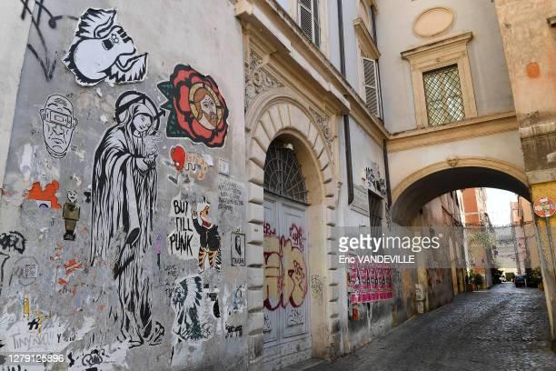 Ruelle du quartier Trastevere suite aux mesures de confinement mises en place par le gouvernement italien pour lutter contre le coronavirus , 25 mars...
