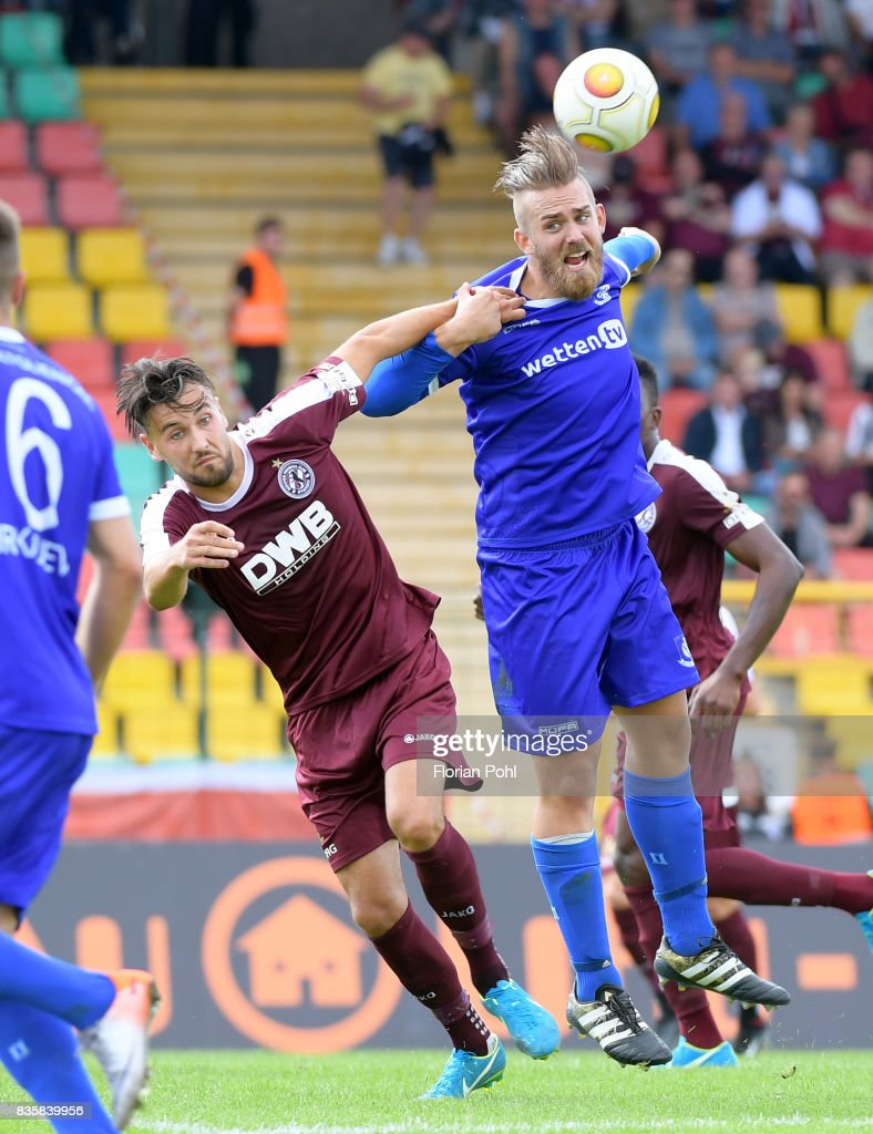 Rufat Dadashov of BFC Dynamo and Kevin Kahlert of VSG Altglienicke during the game between BFC Dynamo Berlin and VSG Altglienicke on august 20, 2017 in Berlin, Germany.