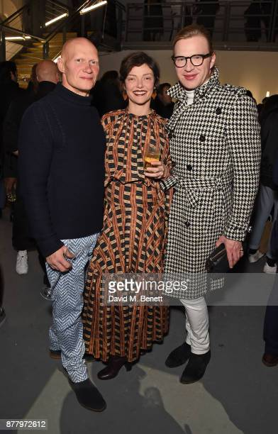 Rufus Abbott Camilla Rutherford and Henry Conway attend the WHITE cocktail party hosted by Italian Trade Agency at Ambika on November 23 2017 in...