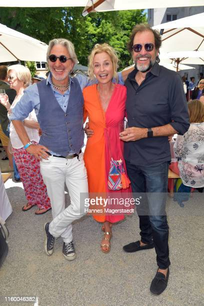 Rufus Beck Franziska Schlattner and Helmfried von Lüttichau attend the Film Fernseh Fonds Bayern 2019 reception during the Munich Film Festival at...