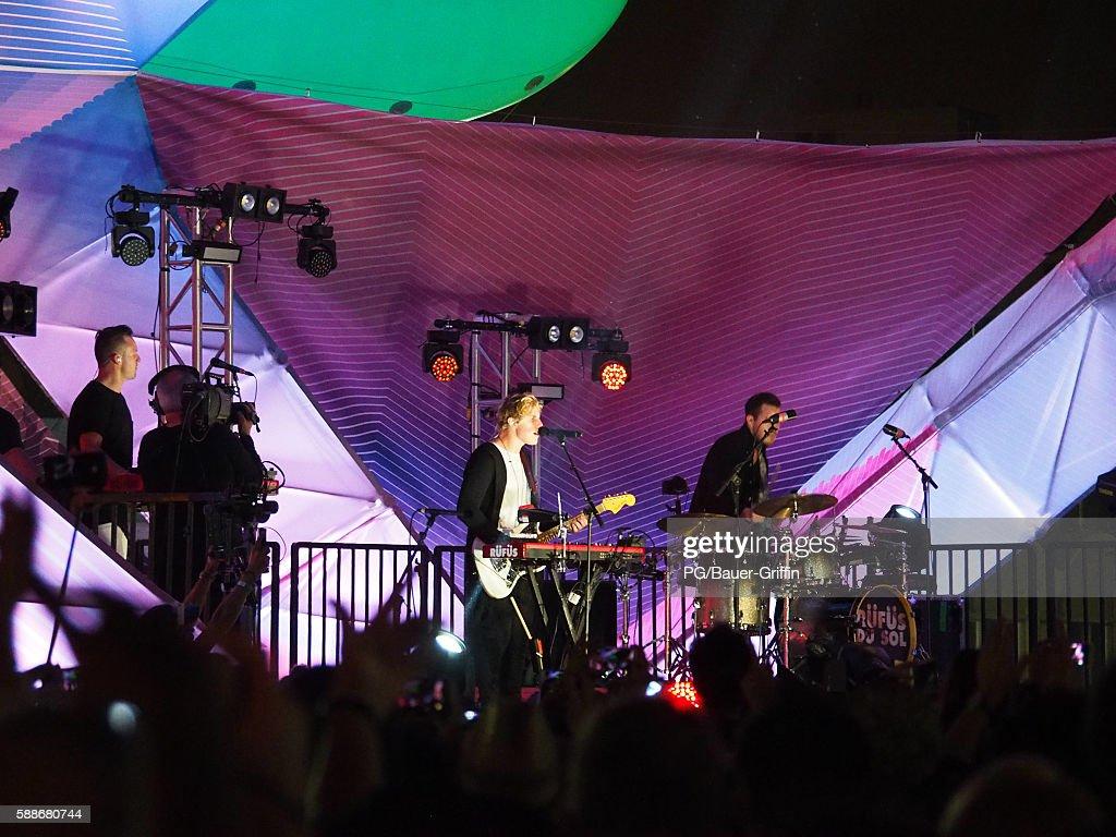 Rufus du Sol is seen preforming on the Santa Monica Pier on August 11, 2016 in Los Angeles, California.