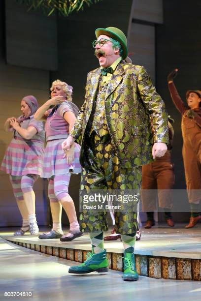Rufus Hound bows at the curtain call during the press night performance of 'The Wind In The Willows' at the London Palladium on June 29 2017 in...