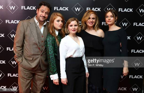 Rufus Jones Genevieve Angelson Rebecca Benson Anna Paquin and Lydia Wilson attend the Premiere of UKTV's new series Flack at Ham Yard Hotel on...