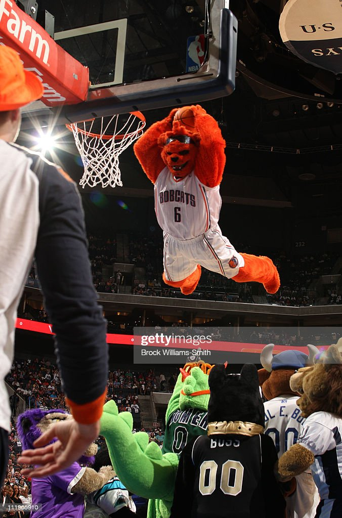 Rufus, mascot of the Charlotte Bobcats, entertains the crowd during the game against the Detroit Pistons on April 10, 2011 at Time Warner Cable Arena on the practice court in Charlotte, North Carolina.