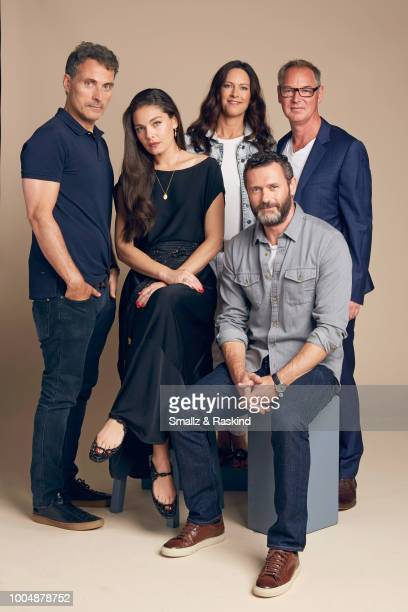 Rufus Sewell Alexa Davalos Isa Hackett Jason O'Mara and Daniel Percival from Amazon's 'The Man in the High Castle' pose for a portrait at the Getty...