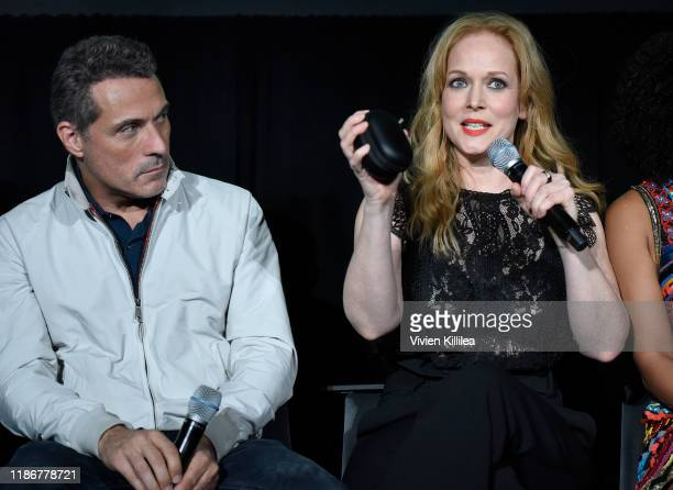 Rufus Sewell and Chelah Horsdal speak onstage at Vulture Festival Presented By ATT at The Roosevelt Hotel on November 10 2019 in Hollywood California