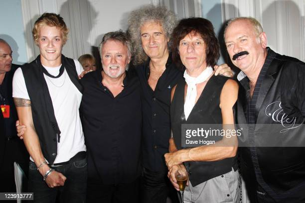 Rufus Taylor Roger Taylor Brian May and Jeff Beck attend the Freddie For A Day 65th birthday anniversary party at The Savoy Hotel on September 5 2011...