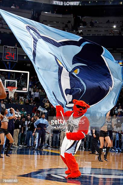 Rufus the Charlotte Bobcats mascot entertains fans during a game between the Memphis Grizzlies and the Utah Jazz in support of the Memphis Grizzlies...