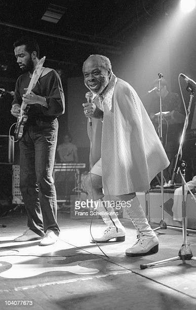 Rufus Thomas performs on stage wearing a cape at Melkweg on June 19 1986 in Amsterdam, Netherlands.