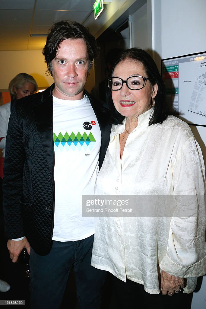 Rufus Wainwright and actress Nana Mouskouri attend the concert of 'Rufus Wainwright' at Salle Pleyel on July 6, 2014 in Paris, France.