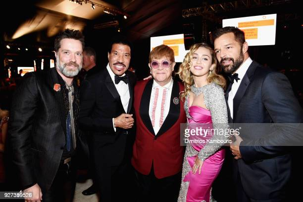 Rufus Wainwright Lionel Richie Sir Elton John Miley Cyrus and Ricky Martin attend the 26th annual Elton John AIDS Foundation Academy Awards Viewing...
