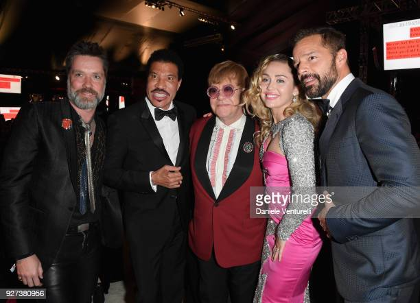 Rufus Wainwright Lionel Richie Sir Elton John Miley Cyrus and Ricky Martin attend Elton John AIDS Foundation 26th Annual Academy Awards Viewing Party...