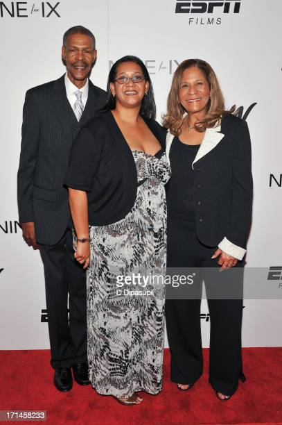 Rufus Williams Keonte Williams and C Vivian Stringer attend the 'Venus Vs' and 'Coach' screenings at the Paley Center For Media on June 24 2013 in...