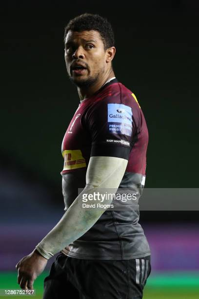 Rugby against Racism armband on Nathan Earle of Harlequins during the Gallagher Premiership Rugby match between Harlequins and Exeter Chiefs at...