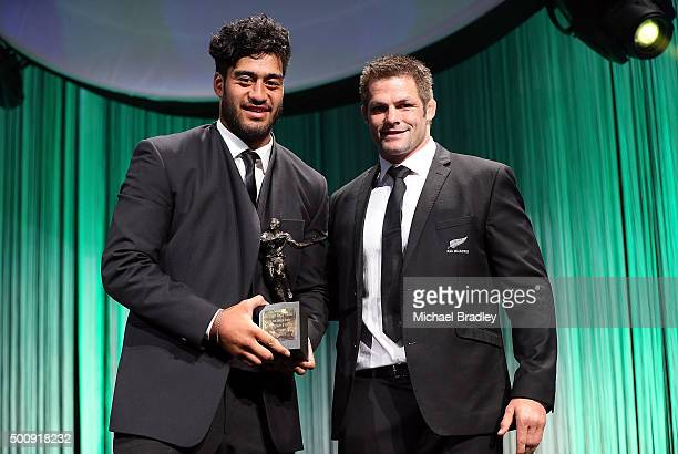 Rugby Age Grade Player of the Year Akira Ioane with All Black Caption Richie McCaw during the 2015 Steinlager Rugby Awards on December 11 2015 in...