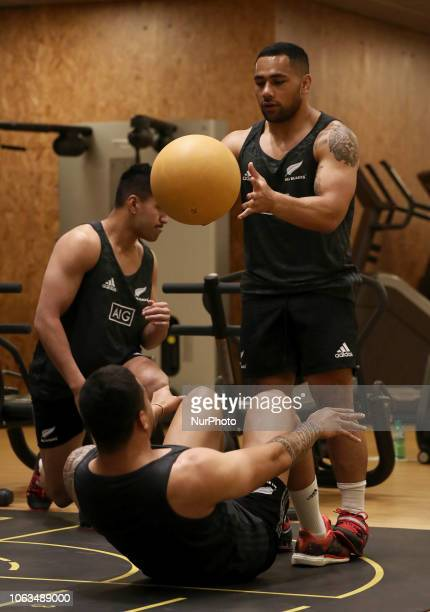 Rugby All Blacks training at gym Vista Norther Tour Richie Mo'unga at Heaven Club in Rome Italy on November 19 2018